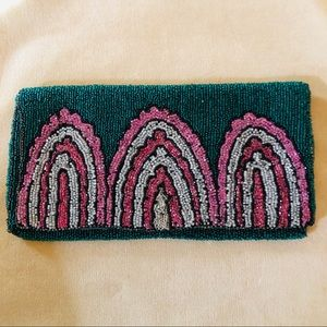 Handbags - Vintage green/pink/silver/black beaded clutch/bag
